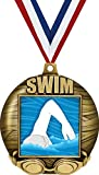 Crown Awards 2 1/4' Swimming 3D Medals, Swimming Award Medal Great Swim Team Medals Gold 1 Pack