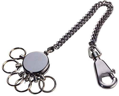 TROIKA PATENT CHAIN – KR10-60/GM – Schlüsselanhänger mit Kette – Schlüsselkette– inkl. Karabinerhaken – 6 ausklinkbare Ringe – Messing, Metall– glänzend – black chrome – TROIKA-Original