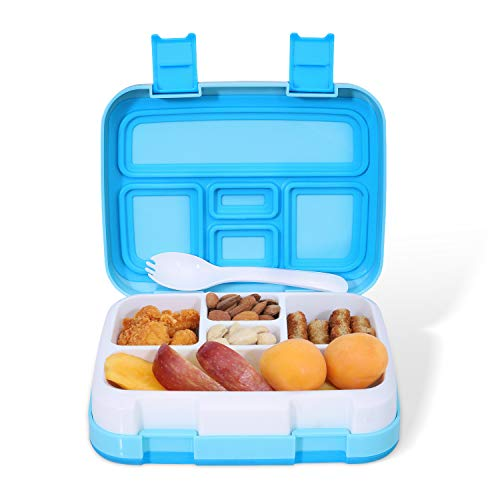 lunch box for kids, Toddler lunch box for daycare, For kids age 3~9, Leakproof 5-Compartment, Bentgo kids lunch box, On-the-go Meal, School kids food container, Lunch Box for Boys and Girls (Blue)
