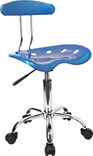 Flash Furniture Vibrant Bright Blue and Chrome Swivel Task Office Chair with Tractor Seat