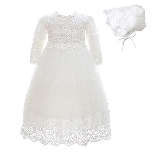 Monimo Bébé Fille Robes de Baptême Dentelle Pleine Robe de Princesse Longueur au Sol, Blanc Laiteux4, 12M(12-16mois)