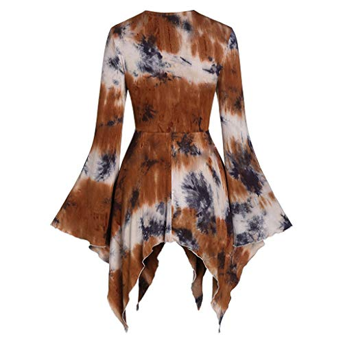 Top for Women Fashion 2020 Halloween Flare Sleeve Tie Dyeing Lace Up Gothic Asymmetric T Shirt Tops 4th of July, Blouses of Short Sleeve Onsale Coffee XXXL