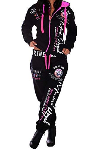 A. Damen Frauen Trainingsanzug Jogginganzug Sportanzug Streetwear Jogger Hausanzug Marine Royal A.2074 Schwarz-Pink, 3XL
