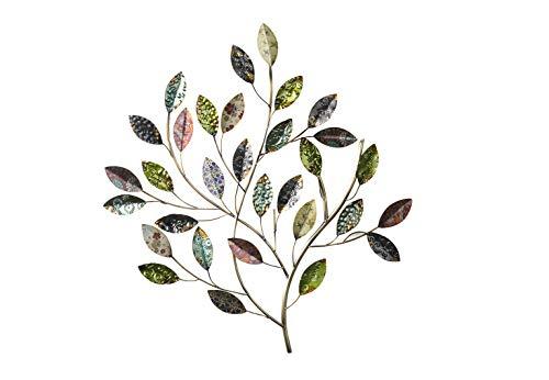 Kobolo Wandbild Wanddekoration Metallbild - Busch mit Blättern - Metall - 66x65 cm