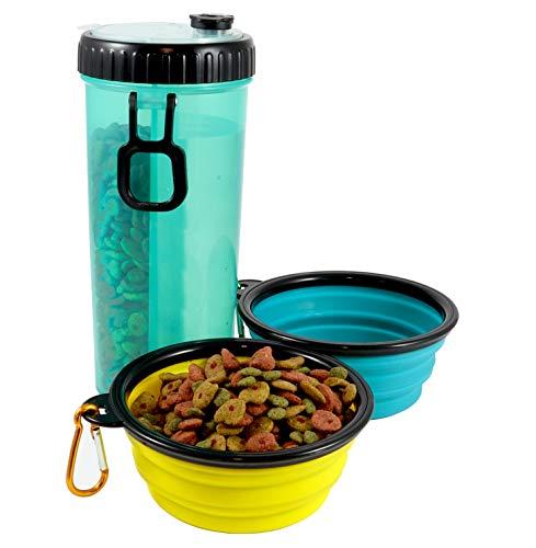 Peti Botella de Agua para Perros portátil Accesorio Ideal para excursiones y Viajes con Dos Cuencos Plegables para la Comida y Bebedero de Mascota