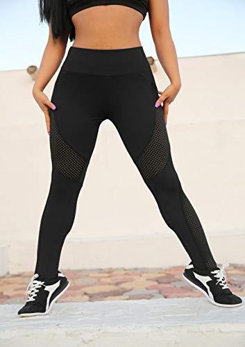 B/H Leggins Pantalon Deporte Yoga,Pantalones Deportivos de Yoga Leggings de Cintura con Levantamiento de Cadera-Negro_L,Leggings Pantalones Mallas Elásticos