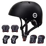 XJD Kids Helmet for Toddler Helmet Boys Girls Sports Protective Gear Set Knee Pad Elbow Pads Wrist Guards Adjustable Roller Bicycle BMX Bike Skateboard Helmets for Kids Black S
