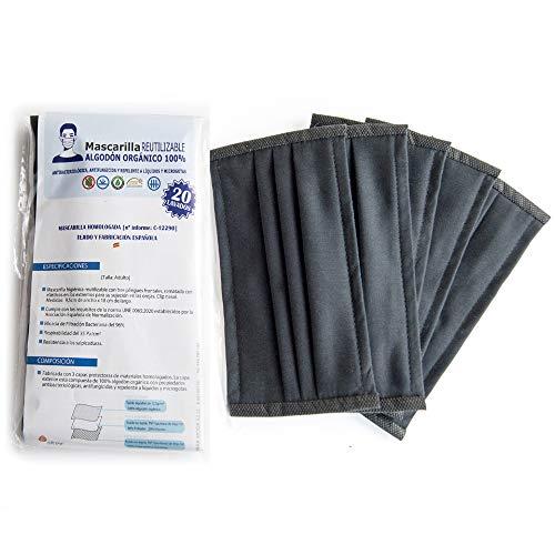 Nayara Moda | Mascarilla Adulto Homologada Higiénica Reutilizable 100% algodón orgánico | 5 unidades | 20 lavados | Fabricadas 100% en España (Negro)