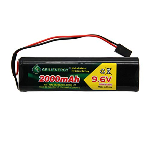 XUNTU 9.6V 2000mAh NiMH Transmiter Battery Pack with Hitec Connectors High Capacity Compatible with Futaba Square NT8S600B RC Receivers, Airplanes,Cars,Heli (1 Pack)