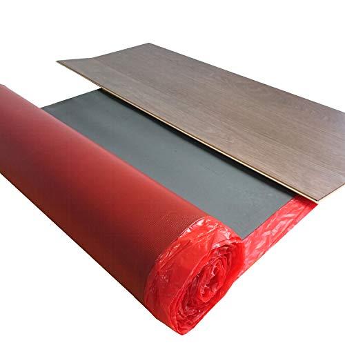 Laminat Trittschalldämmung uficell Multisound Aquastop 2 mm Stark mit PE Dampfbremse - Trittschalldämmung ca. 22 db - Dichte: 110 kg/m³ - TOP bei Fußbodenheizung (Stärke: 2 mm, 2 Rollen | 30 m²)