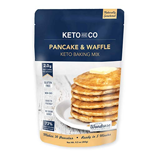 Keto Pancake & Waffle Mix by Keto and Co | Fluffy, Gluten Free, Low Carb Pancakes | 2.0g Net Carbs per Serving | No Sugar Added | Diabetic & Keto Friendly | Makes 30 Pancakes