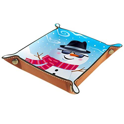 XiangHeFu Bandeja de Cuero Gafas de Sol Fedora de muñeco de Nieve Almacenamiento Bandeja Organizador Bandeja de Almacenamiento Multifunción de Piel para Relojes,Llaves,Teléfono,Monedas