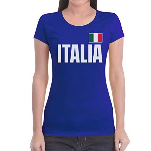 Shirtgeil Italia Bandiera Calcio Nazionale Italiana Azzurri Maglietta da Donna Slim Fit Small Blu