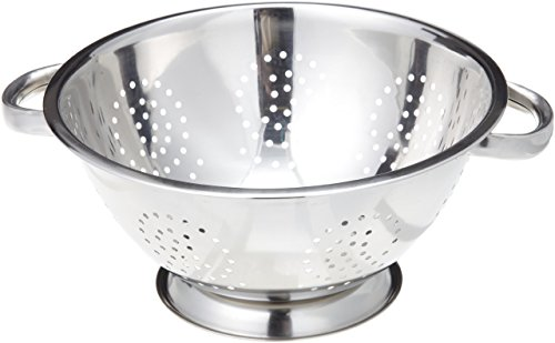 ExcelSteel Heavy Duty Handles and Self-draining Solid Ring Base Stainless Steel Colander, 5 Qt
