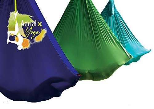 AerialX Aerial Yogatuch - Yoga Basis Set Seegrün | TÜV geprüfte Yoga Hängematte für Yoga, Pilates und Gymnastik | Vertikaltuch Made in Germany
