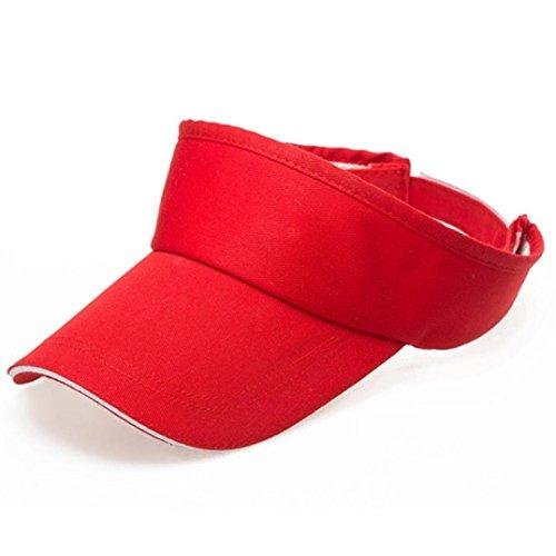 Dasongff Männer Frauen Sommer Visor Sun Plain Hat Cap Ohne Obere Sonnenschutzkappe Sonnenhuete Strand Sonne Hüte Schirmmütze (Rot)