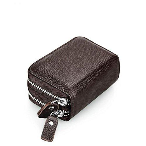 DcSpring RFID Cartera Tarjeteros Piel Genuino Monedero Pequeñas Portatarjetas Mini Cremallera para Mujer Hombre (Caqui)