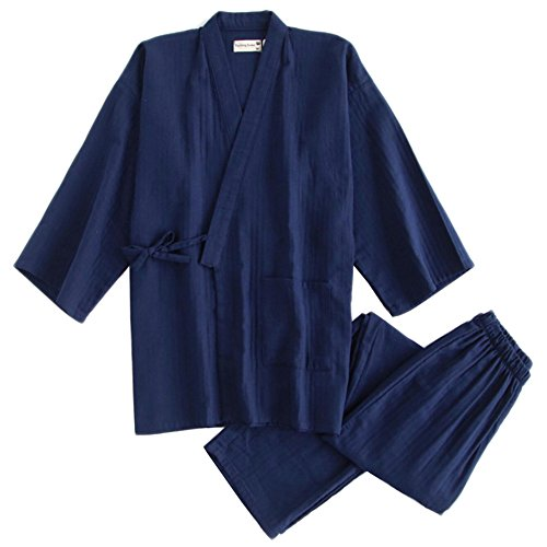 Fancy Pumpkin Les Hommes de Style Japonais Double Gaze Coton Kimono Pyjamas Costume Robe Robe Ensemble [Marine, L]