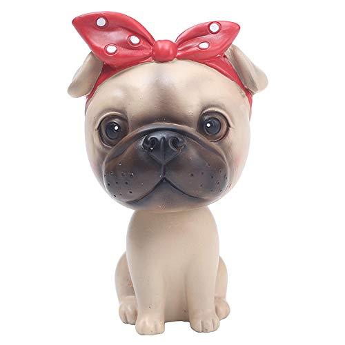 L.DONG Bobbleheads Pug, Cute Car Dashboard Bobble Head Dog Decoration Funny Shaking Head Animal Puppy Decor
