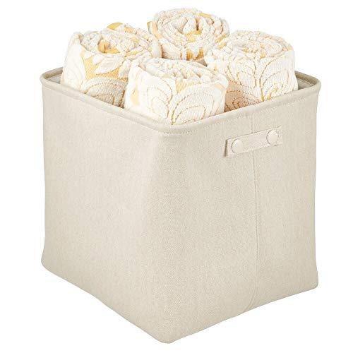 mDesign Cesta de tela alta con forro y diseño estructurado – Ideal como cesto para baño o como organizador de cosméticos – Práctico organizador de baño de algodón con asas – crema