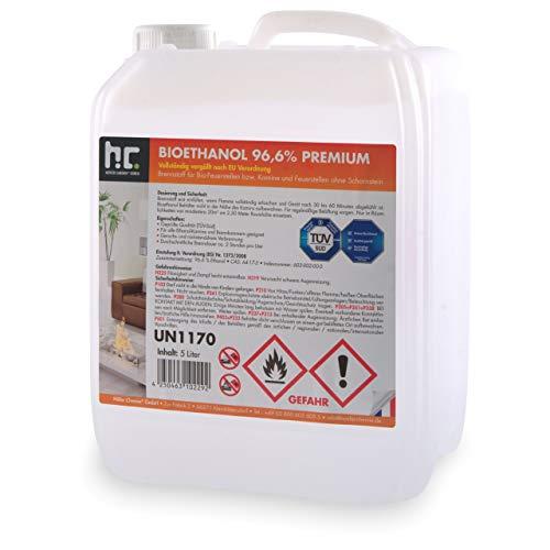 Höfer Chemie 1 x 5 L Bioethanol 96,6% Premium - TÜV SÜD zertifizierte QUALITÄT - für Ethanol Kamin, Ethanol Feuerstelle, Ethanol Tischfeuer und Bioethanol Kamin