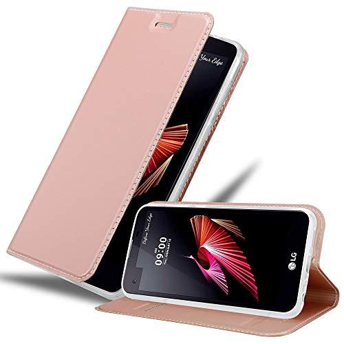 Cadorabo Hülle für LG X Screen in Classy ROSÉ Gold – Handyhülle mit Magnetverschluss, Standfunktion und Kartenfach – Case Cover Schutzhülle Etui Tasche Book Klapp Style