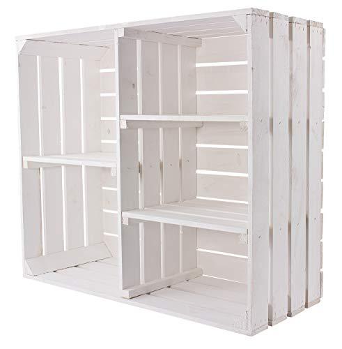 Vinterior Shabby Chic Holzschrank mit 3 Mittelbretter und Trennbrett - Neue Obstkisten Holzkisten als Schrank aus Holz in weiß - Schuhregal Bücherregal 77x68x35cm
