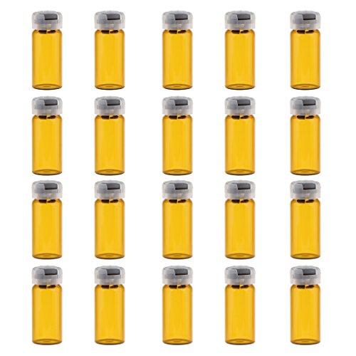 Milageto 20pcs Flacons de Sérum En Verre avec Bouchon En Caoutchouc - 10ml - 10ml