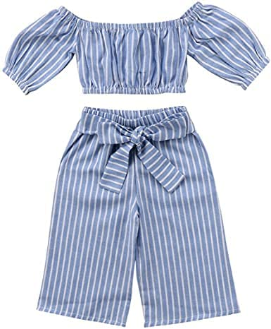 Kids Toddler Girl Stripe Off-Shouler Tube top + Pant Set Outfit Girl's Jumpsuit Dress Cotton a-line Jumpsuit/Knee Length for Casual and Western (3-4 Years)