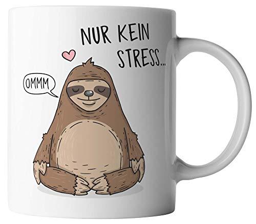 vanVerden Tasse - Nur kein Stress - Faultier - beidseitig Bedruckt - Geschenk Idee Kaffeetassen, Tassenfarbe:Weiß