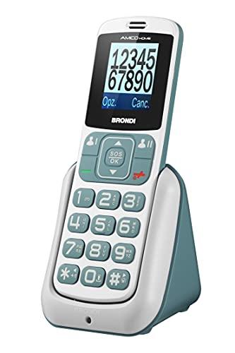 Brondi Amico Home Telefono Cellulare GSM per Anziani con Tasti Grandi, Tasto SOS e Funzione da Remoto, Dual SIM, Volume Alto, Bianco/Grigio