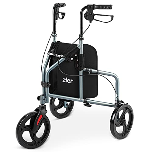 Zler 3 Wheel Walker for Seniors, Foldable Three Wheel Rollator Walker with Height Adjustable Handles,Support Up to 300 lbs, Gray