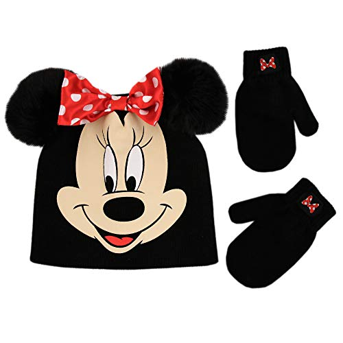 Disney Toddler Girls Minnie Mouse Beanie Hat and Gloves Set, Black, Mittens - Age 2-4