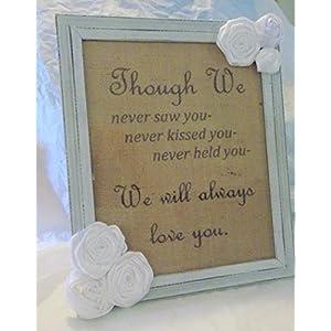 Miscarriage Memorial Infant Loss Rustic Framed Burlap Artwork and Flowers Keepsake Sympathy Gift