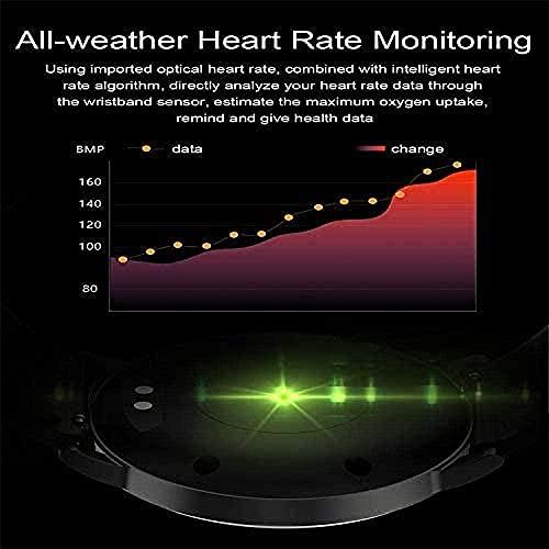Pantalla redonda impermeable reloj inteligente Bluetooth ritmo cardíaco monitoreo pulsera deportes podómetro-3
