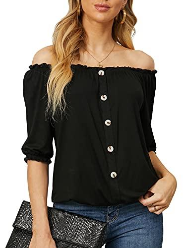 YOINS Camiseta sexy de verano para mujer, con hombros descubiertos, manga corta,...