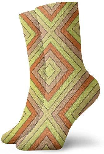 Paedto Calcetines de compresión antideslizantes con rombo abstracto colorido, calcetines deportivos acogedores de 11,8 pulgadas para hombres, mujeres y niños