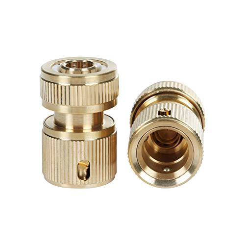 Manyao - 2 conectores para manguera de riego de 1/2 pulgadas, 16 mm, conector de manguera de latón para grifo, boquilla de pulverización de jardín, grifo adaptador de manguera de lavado de coche