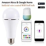 RGBスマート調光電球、バヨネットスマートアレクサとGoogleアシスタントと互換性がリモコンで16万色、 E27
