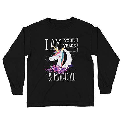 lepni.me Camiseta para Niño/Niña Soy un Regalo de cumpleaños mágico de Unicornio de los años de Costumbre (12-13 Years Negro Multicolor)