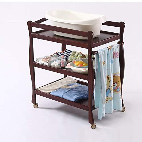 HANSHAN Wickeltische Wickeltische, Kinderbett-Pflegetisch Neugeborenen-Touch-Tisch Umweltschutz Lagerung Massivholzbehandlung 0-3 Jahre 3 Farbe (Farbe : Kirschholz)