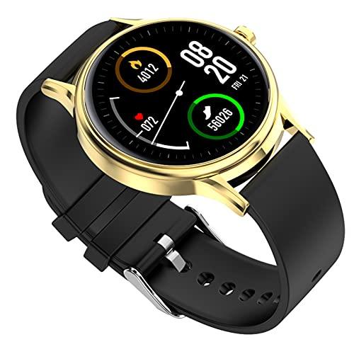 HQPCAHL Smartwatch 1.3Inch Reloj Inteligente, Pulsera Actividad con Fitness Tracker,Calorías, Podómetro, Pulsómetro, Monitor De Sueño, IP67 Impermeable, Reloj De Fitness para Mujer Hombre Niño,Oro