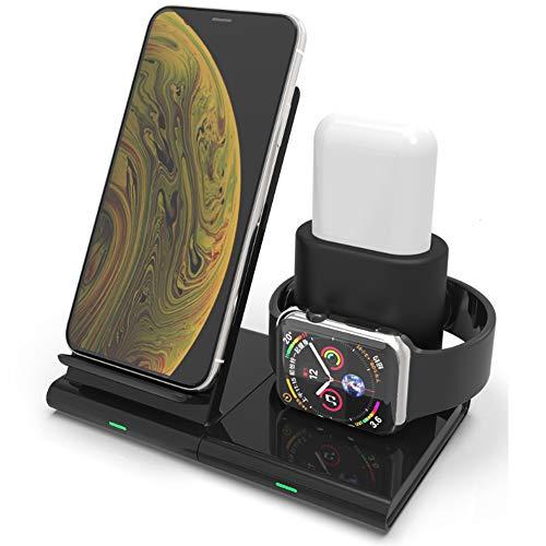 QWERTU 3-in-1 draadloze oplader houder magnetische compatibiliteit 11 Pro Xs Max XR Galaxy S10 Note 9 Plus Qi telefoon Airpods 02.01 / Airpods Pro (zwart)