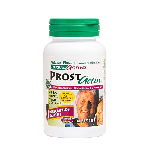 NaturesPlus Herbal Actives ProstActin - 200 iu Vitamin E, 60 Softgels - Healthy Prostate Gland Support, with Saw Palmetto, Pygeum & Pumpkin Seed Oil - Gluten-Free - 30 Servings
