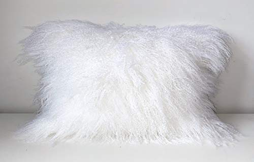 Gentle Nature 100% Real Mongolian Lamb Fur Curly Wool Pillow Cushion,Home Decorative Sheepskin Throw Pillow with Insert Included,12x20in,White