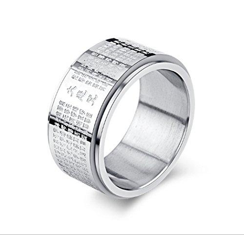 Yazilind Titan Stahl drehbare Ringe Retro Transshipment buddhistischen Band Ring Multi Größe optional Größe 20.7