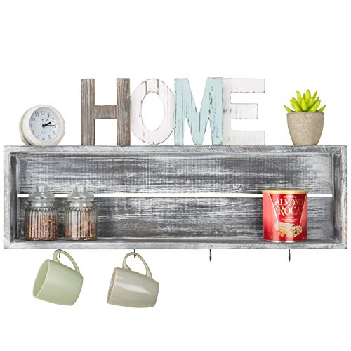 MyGift Wall-Mounted Distressed Grey Wood Floating Shelf with 4 Mug Hooks