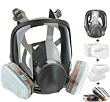Full Face Respirator Mask Reusable Facepiece Respirator, Silicone Reusable Anti-Fog Lens Cover Eye Protection Anti-Dust Mask, Wide Field of View Work Protection Respirator with Toxic Filters for Dust Painting