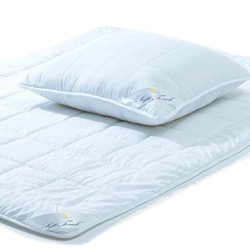 aqua-textil Soft Touch Bettdecke Ganzjahresdecke 135 x 200 cm Set inkl 1x Kopfkissen 80 x 80 cm Winter Sommer Steppdecke