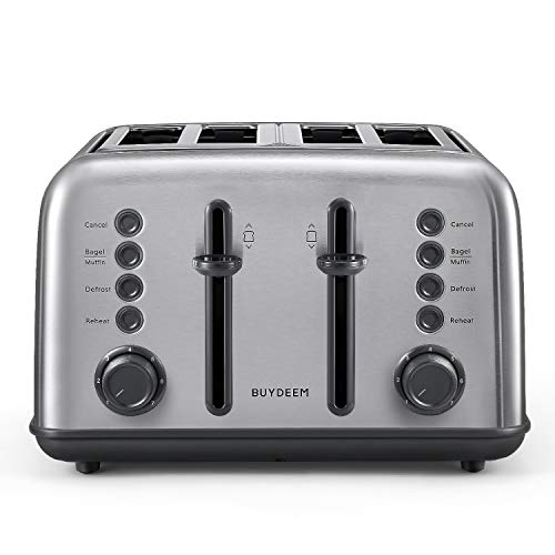 BUYDEEM DT-6B83 4-Slice Toaster, Extra Wide Slots, Retro Stainless Steel with High Lift Lever, Bagel and Muffin Function, Removal Crumb Tray, 7-Shade Settings (Retro Stainless Steel, 4-Slice)